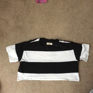 Hollister black and white crop top
